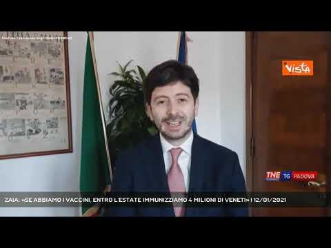 ZAIA: «SE ABBIAMO I VACCINI, ENTRO L'ESTATE IMMUNIZZIAMO 4 MILIONI DI VENETI» | 12/01/2021