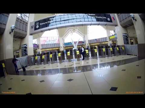 New Jersey Transit Train Secaucus Junction And Getting On Main Bergen County Line
