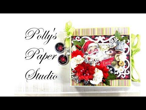 Vintage  Christmas Mini Album Scrapbook Polly's Paper Studio Authentique Papers Flip Through DIY
