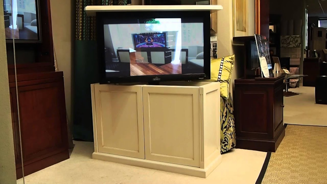 County French Pop - Up and Rotate Motorized TV cabinet - YouTube