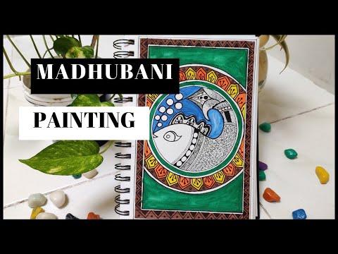 Madhubani Painting | Indian Folk Art | Madhubani Art easy | Mithila painting