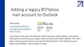 how to set up outlook using imap for bt or yahoo mail