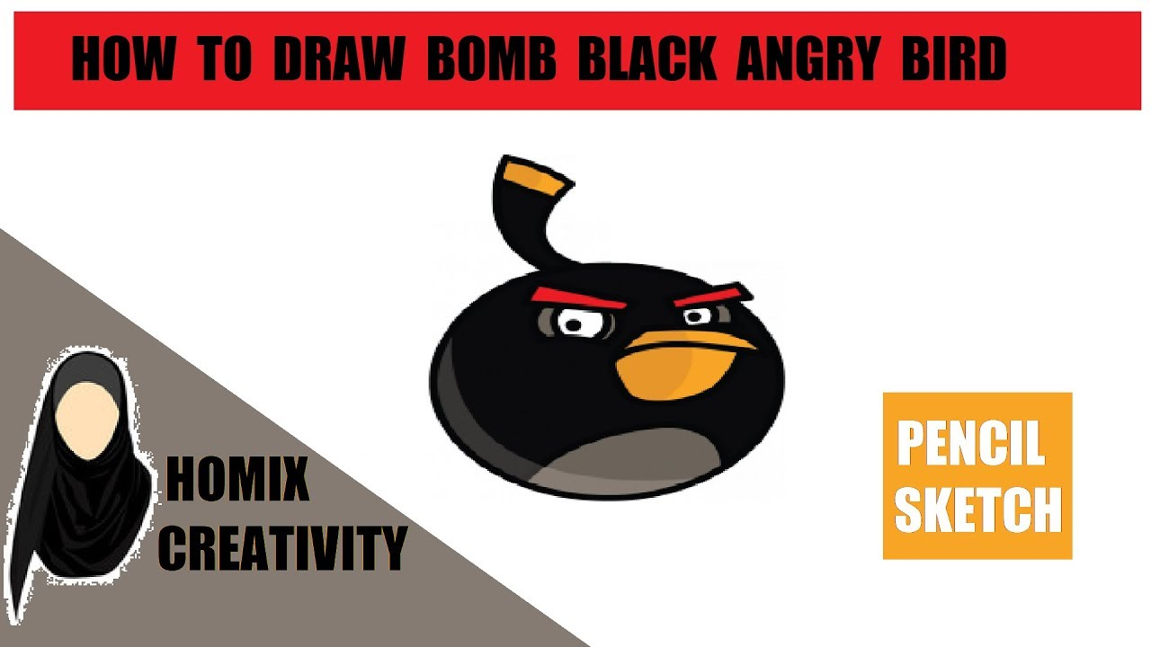 How to draw black angry birds pencil sketch of bomb black how to draw angry birds in pencil