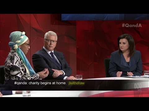ABC Q&A. Jacqui Lambie Heads Off UN Muslim Youth Without Borders Founder. (Sharia Law)