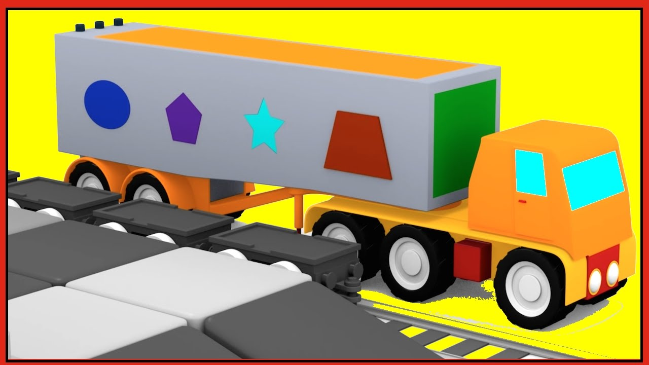 truck puzzle for kids learn shapes with trains cartoon cars clever crane youtube