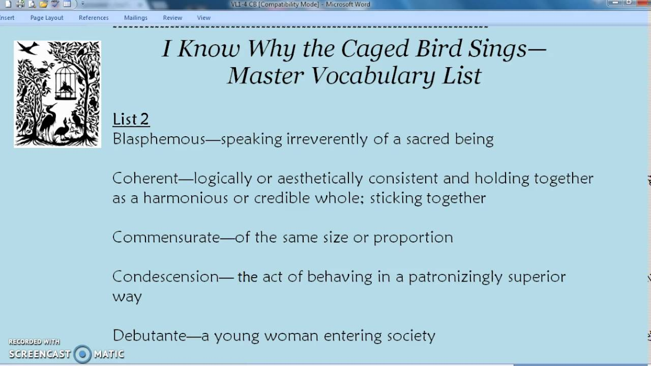 I know why the caged bird sings vocab 2 youtube i know why the caged bird sings vocab 2 biocorpaavc