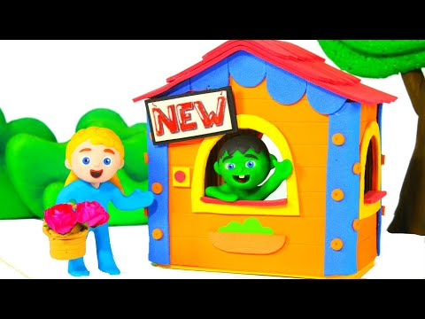 Little Boy Has A New Playhouse ❤ Cartoons For Kids