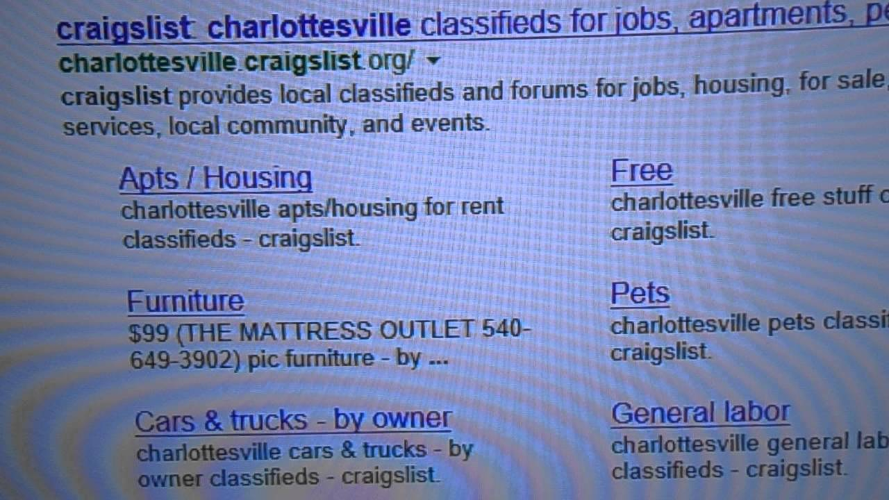 01/11/14: Video from 01/11/14: Craigslist Charlottesville