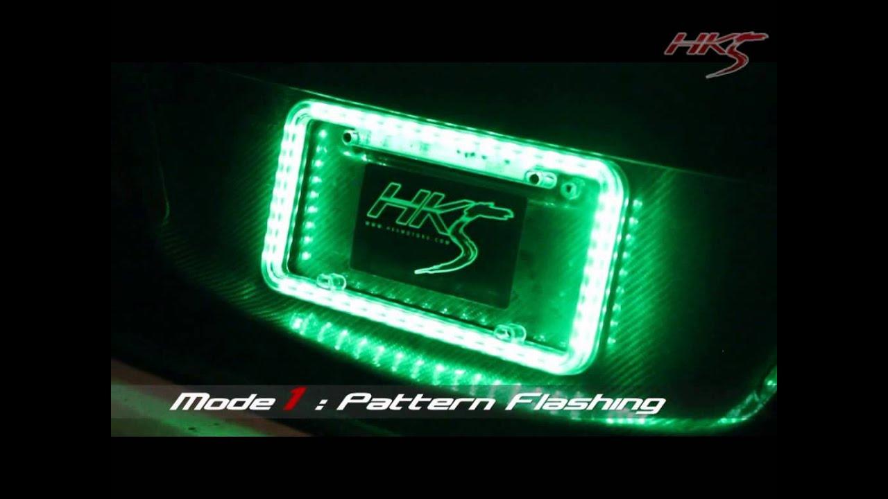 Charming Universal LED Illuminated Acrylic License Plate Frame   GREEN   YouTube