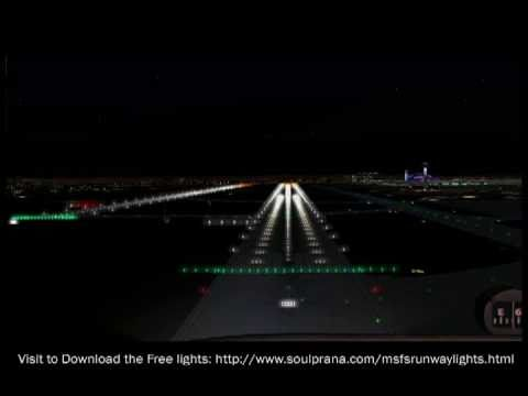 Night Landing Flight Simulator 2004 Realistic Runway