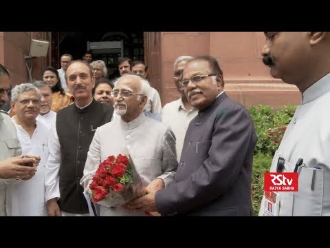 Vice president Md. Hamid Ansari leaving Rajya Sabha
