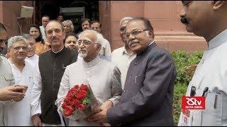 Vice president Md. Hamid Ansari leaving Rajya Sabha