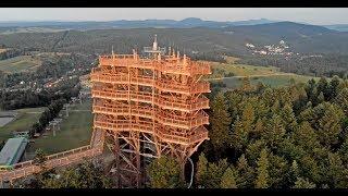 Wieża widokowa i ścieżka w koronach drzew w Krynicy