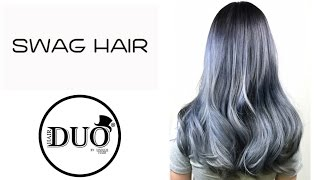 Swag Hair X Hair Duo Cool Blue Gray Ombre Colouring