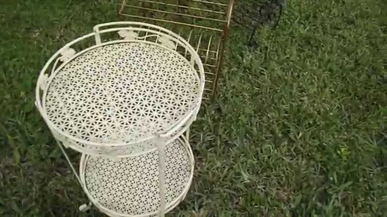 Vintage Wood Folding Chairs Wire Metal Plant Stand End Table You