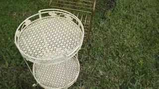 Vintage Wood Folding Chairs/ Wire Metal Plant Stand/ Vintage End Table