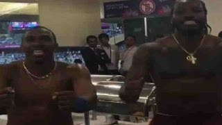 Chris Gayle and Dwayne Bravo's champion dance after winning the semi-final match