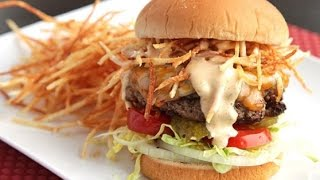 Recipe of Cuban Fritas Seasoned Cheeseburgers With Shoestring Potatoes and Spicy Sauce