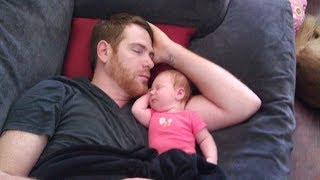 Cute Baby Sleeping With Daddy - Daddy