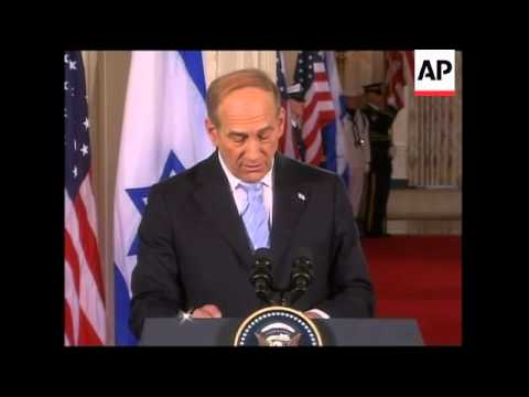 WRAP Israeli PM in joint presser with Bush