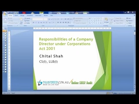 Responsibilities of a Company Director under Corporations Act