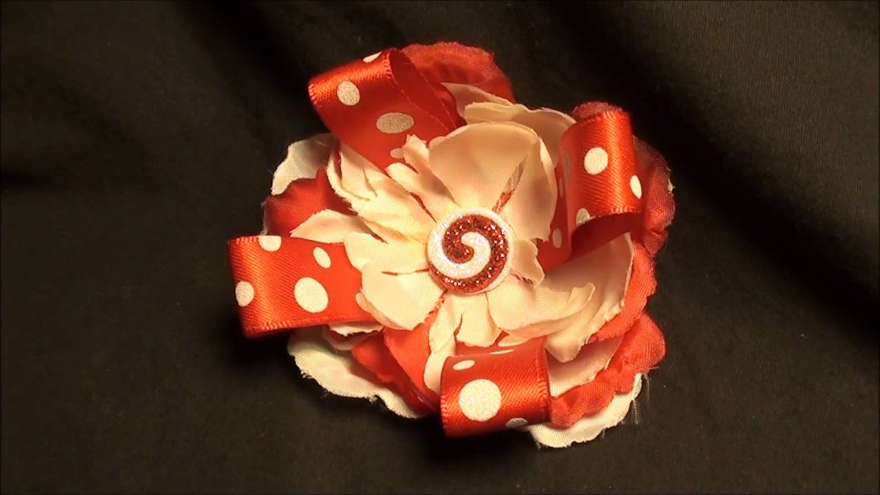 Red and White Holiday Flower Hair Clip with Ribbon and Candy Charm -  Flowers By T