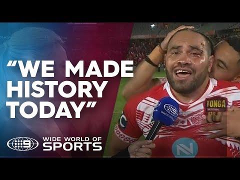 Konrad Hurrell's emotional reaction to Tonga's win | NRL on Nine