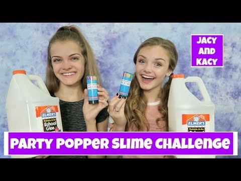Party Popper Slime Challenge ~ Jacy and Kacy