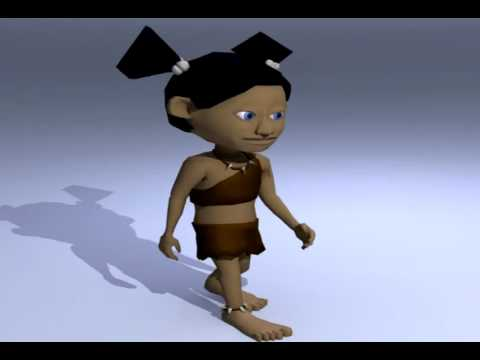 Cave Girl Walk Cycle Animation v.2
