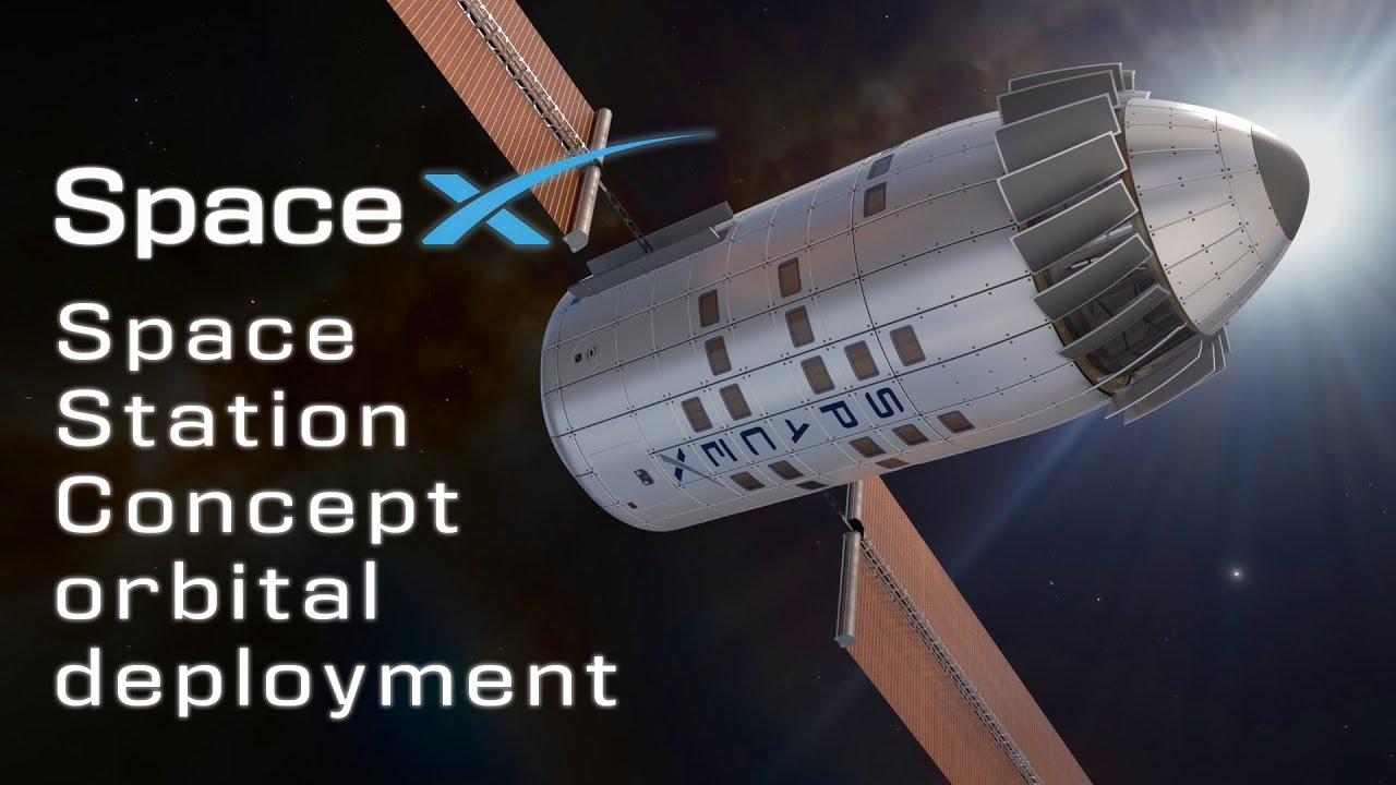 SpaceX Single Launch Space Station unofficial concept orbital deployment