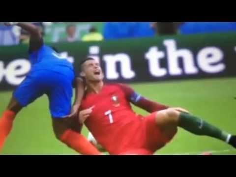 Cristiano Ronaldo horrible injury vs France- final euro 2016