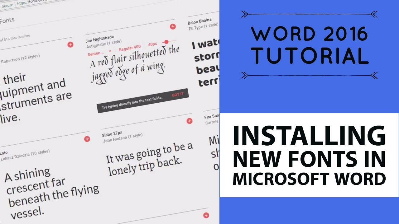 Installing new fonts in Microsoft Word - Word 2016 Tutorial [15/52]