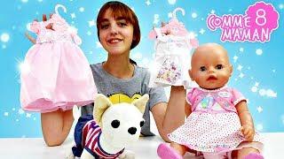 Vidéo en français pour enfants. Show Comme maman № 8: le shopping avec le Bébé Born Emily
