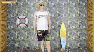 Sublimation printed swimming surf shorts men in beach BST0257