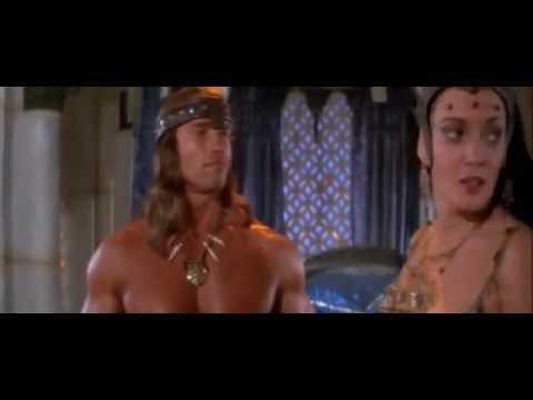 Queen Taramis briefs Conan on his quest