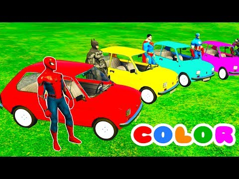 Thumbnail: COLOR CARS Transportation & Spiderman Cartoon for kids w 3D Bus Superheroes for babies