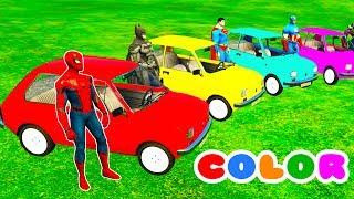 COLOR CARS Transportation & Spiderman Cartoon for kids w 3D Bus Superheroes for babies