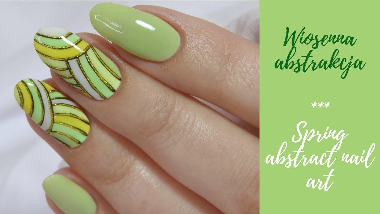 Wiosenna Abstrakcja Zielone Abstrakcyjne Paznokcie Lu