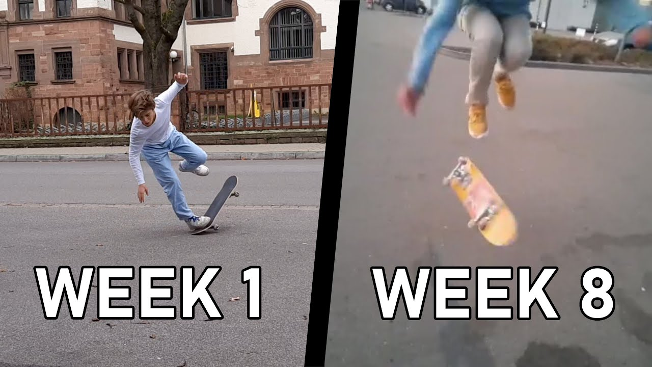 MY 2 MONTH SKATEBOARDING PROGRESSION (from nothing to bigspins, etc.)