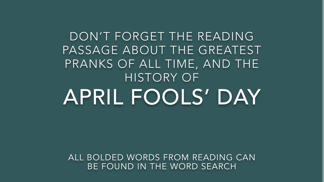 hight resolution of April Fool's Day Prank for your Class: Low Prep