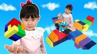 라임의 신기한 매직큐브 블럭 자석퍼즐 장난감 놀이 magnet puzzle 하늘 높이 날으는 비행기를 만들자~! LimeTube & Toy 라임튜브