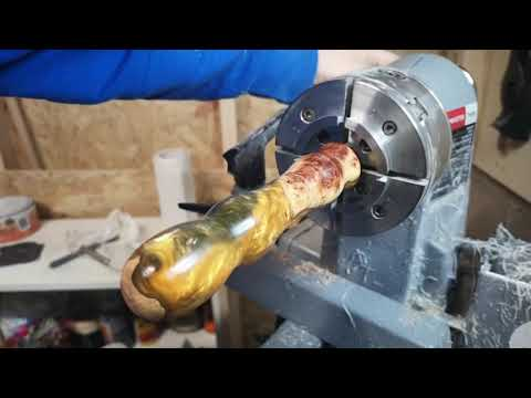Woodturning - A Alumilite Resin and Wood Tool Handle