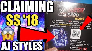 CLAIMING THE SUMMERSLAM 18 AJ STYLES QR CODE FROM WWE 2K19! + SS18 PLATINUM PACKS! WWE SuperCard S4!