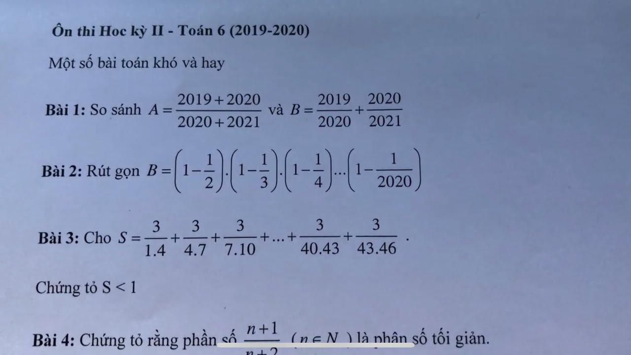 [ Toán 6] Ôn tập học kỳ II : Một số dạng toán khó