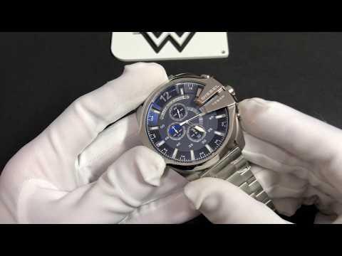 30e58add46208 Relógio Diesel Dz4417 Mega Chief Prata Fundo Azul