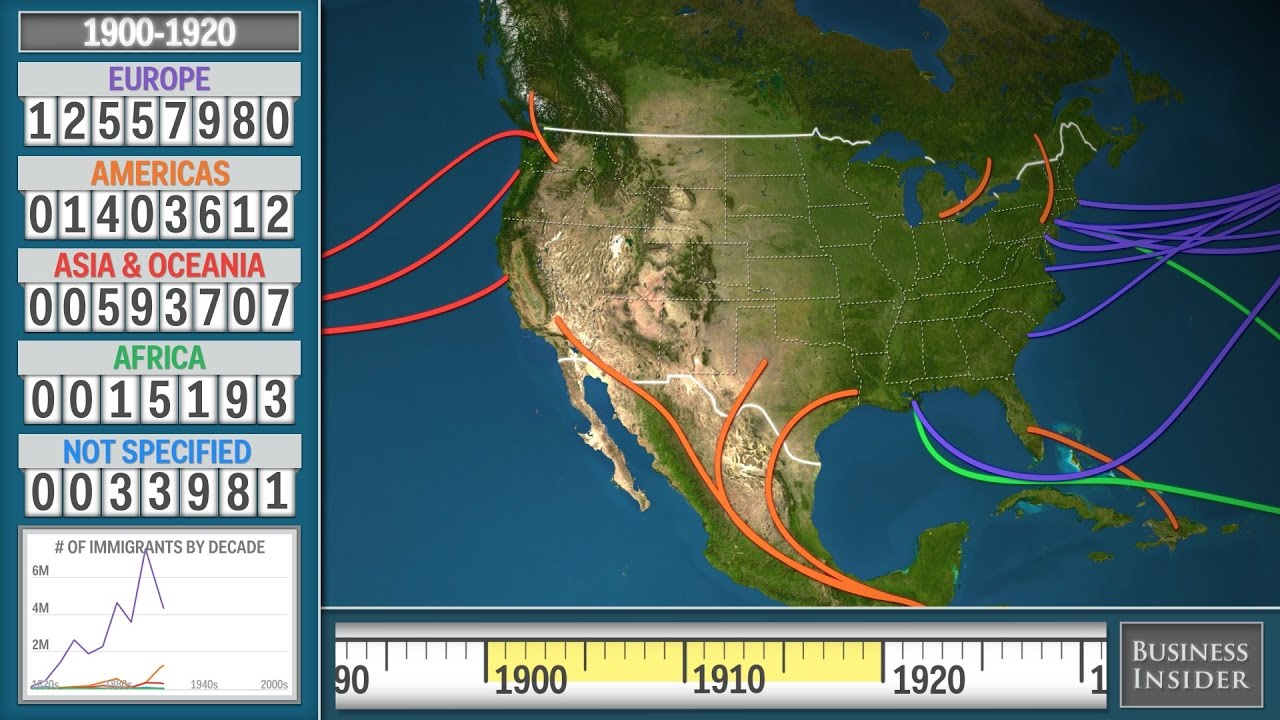 Animated Map Shows History Of Immigration To The US - YouTube