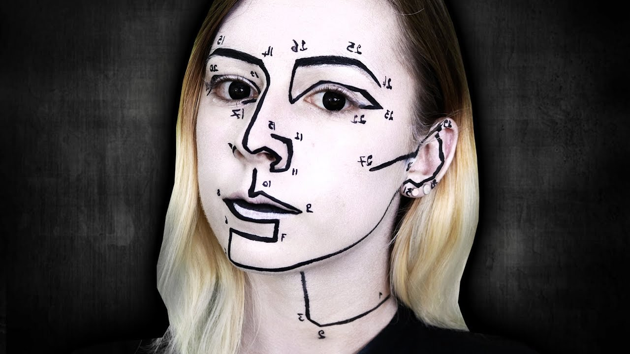 Dessin Humain Noir Et Blanc Maquillage Halloween Facile Youtube