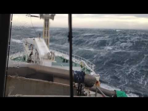 Scottish Pelagic Fishing Vessel In North Sea Storm