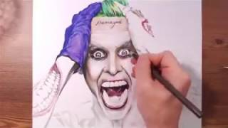 Anime Coloring Pages For Kids - Tokyo Otaku Mode Pages | Drawing Joker Jared Leto using colored