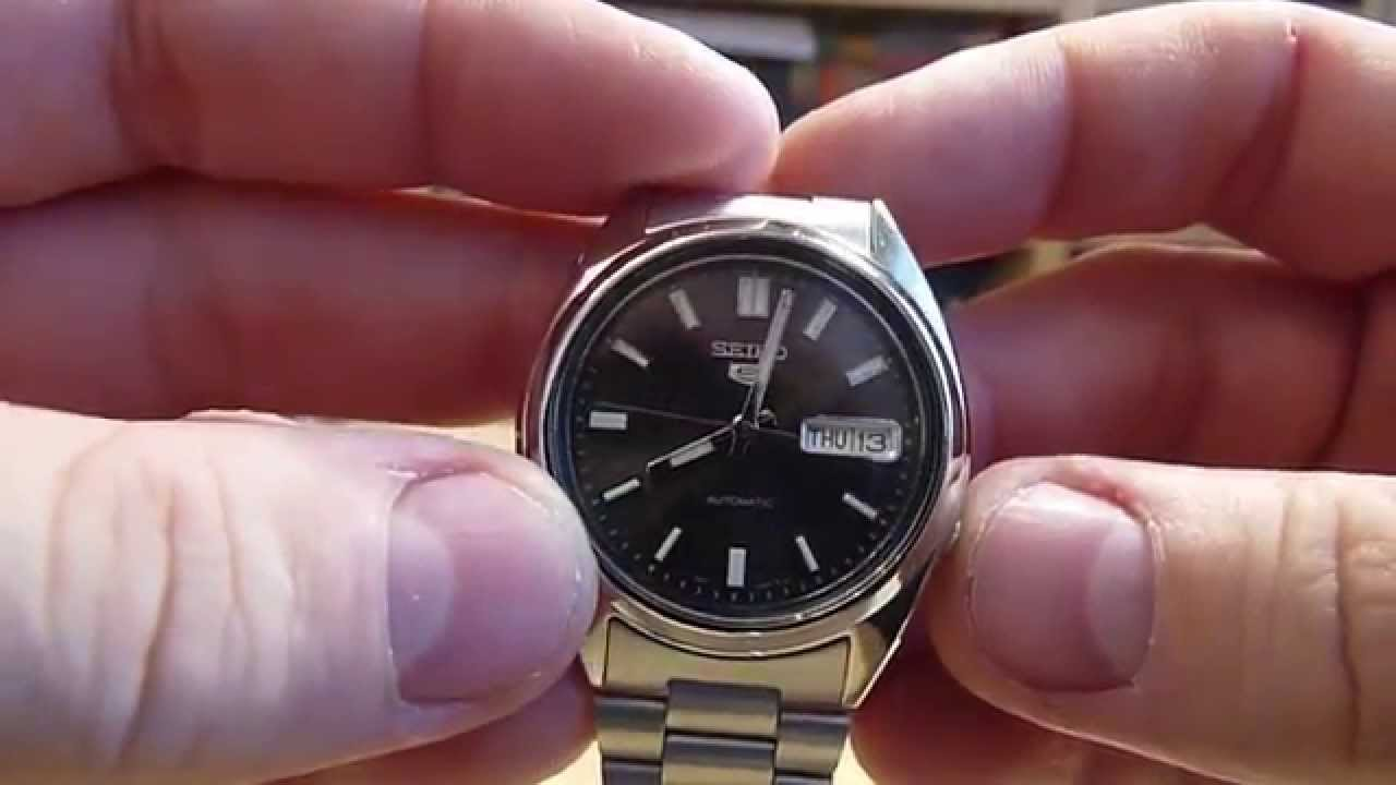 Seiko Snxs79k Gents 5 Watch Automatic Analogue Black Dial Steel